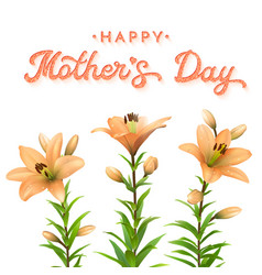 mothers day greeting card with orange lilies vector image