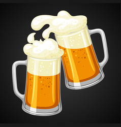 Mugs with light beer and froth vector