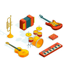 musical instruments isometric pictures set vector image