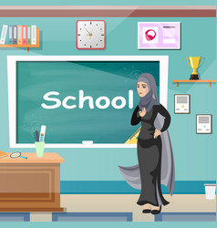 Muslim teacher professor standing in front vector