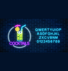 Neon cocktail glass sign in circle frame with vector