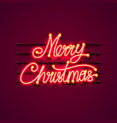 Neon merry christmas signboard vector