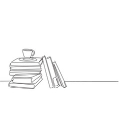 one continuous line drawing pile books and vector image