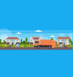 orange garbage truck urban sanitary vehicle vector image