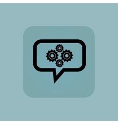 Pale blue cogs message icon vector