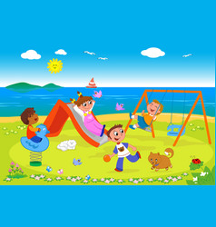 Playground at seaside vector