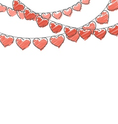Red hand-drawn hearts buntings garlands on white vector image