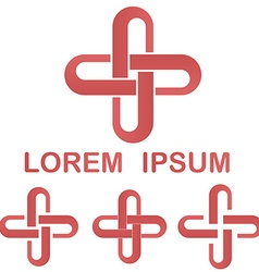 Red loop logo symbol design set vector