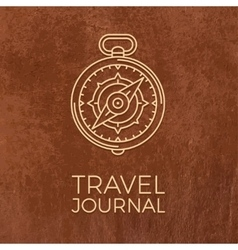 Retro thin line travel Outline vector image