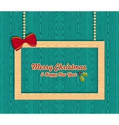 Retro wooden Christmas banner vector
