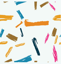 Seamless abstract multicolor brushstrokes on white vector
