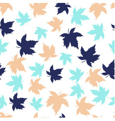 seamless pattern with colorful maple leaves vector image