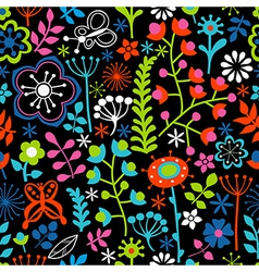 Seamless texture with flowers and butterflies vector image
