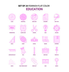 Set of 25 feminish education flat color pink icon vector