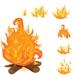 Set of campfires vector