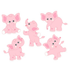 Set of cute cartoon elephants vector