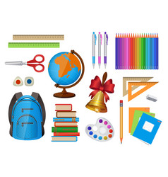 set of school items isolated vector image