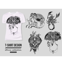 Shirt design with hand-drawn ethnic animals vector