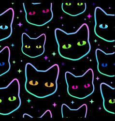 simless colorful cat heads with bright eyes vector image