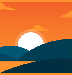 simple beach landscape with a hill in evening for vector image