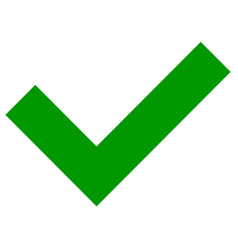 simple flat green checkmark tick icon on white vector image