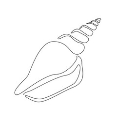 Spiral seashell in one continuous line drawing vector