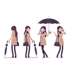 Stylish woman in autumn wear standing with vector