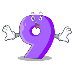 surprised number nine balloon font shaped charcter vector image