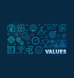 values blue horizontal thin line banner on dark vector image