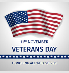 veterans day poster with the flag of united states vector image