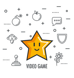 video game star element app button vector image