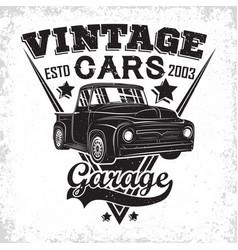 Vintage cars garage emblem vector