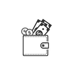 wallet icon wallet and money peeping from it vector image