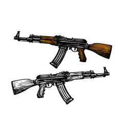 weaponry armament symbol automatic machine ak 47 vector image