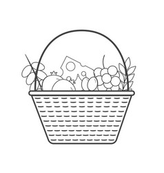 wicker basket with fruits and dairy products icon vector image