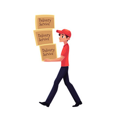 young courier delivery service worker carrying vector image