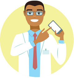 Young doctor pointing on smartphone vector