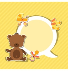 Background photo frame with little cute baby bear vector image