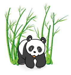cute Panda Bear in Bamboo Forrest 04 vector image