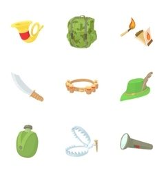 Hunting of animals icons set cartoon style vector image vector image