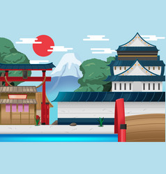 japan travel old city background vector image vector image