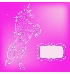 Pink backdrop with unicorn vector image