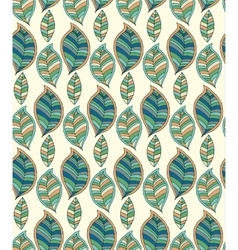 Seamless pattern with hand drawn green leaf vector image