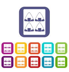 sushi icons set flat vector image vector image