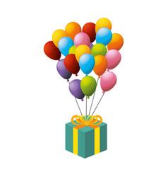 balloon air party with giftbox icon vector image