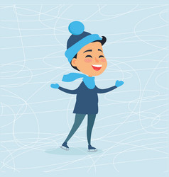 cartoon smiling male person on icerink in winter vector image vector image