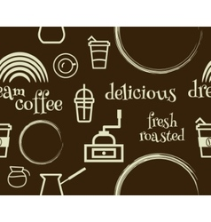 Coffee seamless pattern with stains line coffee vector image