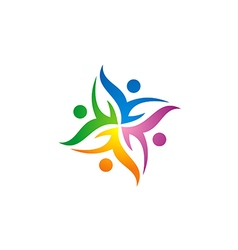 people group circle communication logo vector image
