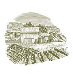 woodcut vintage barnyard vector image vector image
