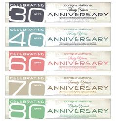 Anniversary retro banner set vector image vector image